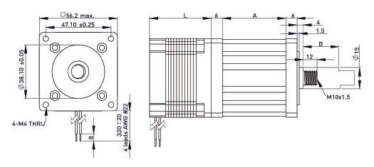 57mm混合式丝杆步进电机